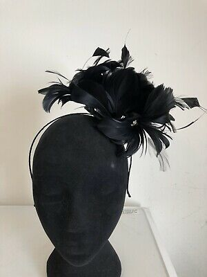 Black Feather Fascinator On Headband Weddings Christenings Ladies Day Ascot