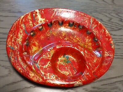 Ashtray Atomic Orange Red Gold accents trim Cal Original 898 Mid-Century USA vtg
