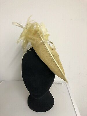 Yellow Feather Fascinator On Headband Weddings Christenings Ladies Day Ascot