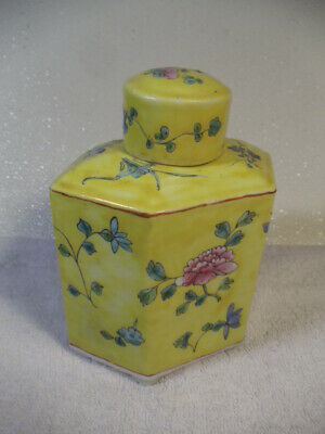 "Vintage Chinese 6 Sided Porcelain Container With Lid 6"" Tall"