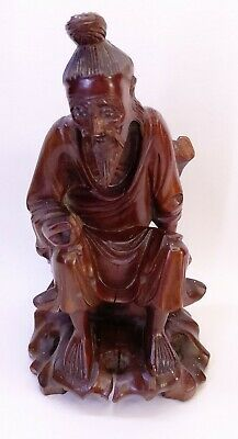 Fine Antique Chinese Wooden Wood Carved Statue Figure Fisher Man Scholar Art