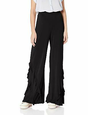 BB Dakota Womens Deep Black Size Large L Dress Pants Stretch Ruffle Hem $78 853