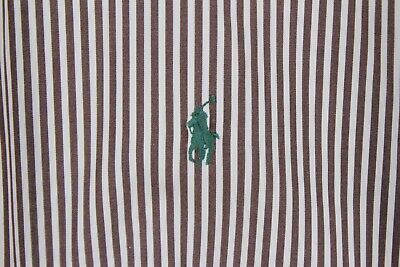 Ralph Lauren Mens Shirt sz 16.5 Large Brown White Striped LS Btn up Green Pony