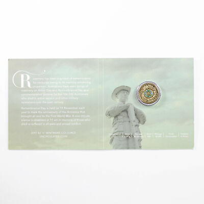 """2017 Australian Coloured $2 """"C"""" Mint Mark Remembrance Carded Coin D4-78"""