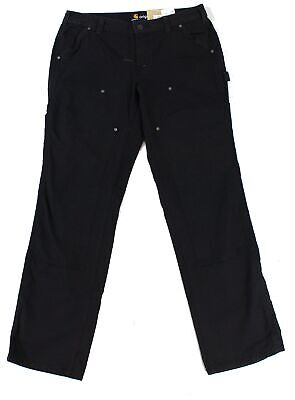 Carhartt Womens Pants Black Size 12 Crawford Double-Front Original-Fit $58- 507