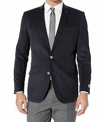 Unlisted Kenneth Cole Mens Sport Coat Blue Size 44 Two Button Corduroy $295 356