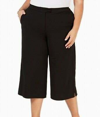 Michael Kors Womens Pants Black Size 2X Plus Cropped Wide Leg Stretch $135 349