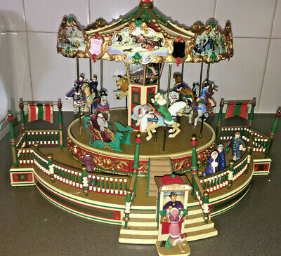 1997 Mr Christmas Holiday Around The Carousel In Box Complete Works perfectly