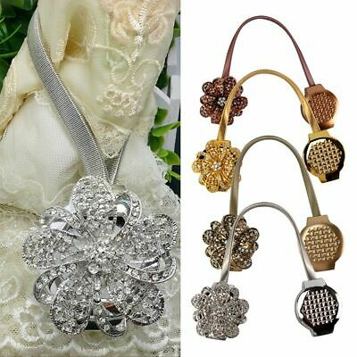 Crystal Magnetic Retractable Curtain Decoration Clip On Flower Holder Tie Backs