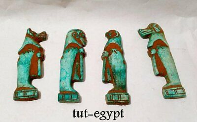 Rare Egyptian Faience Amulets Canopic Jars Four Sons of Horus 672-332 bc