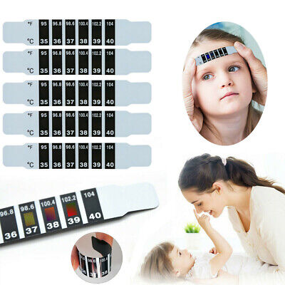 50X Kids Forehead Head Thermometer Strip Baby Body Fever Temperature Test Paper