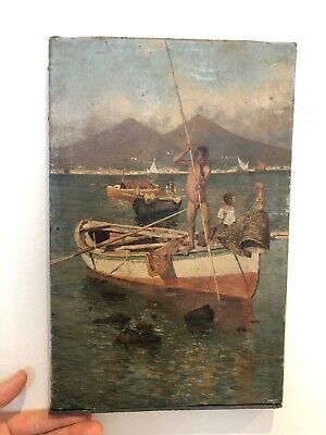 Really Old Painting Oil On Canvas 18/19th Century Nude Fisher Boys,Bay Of Naples
