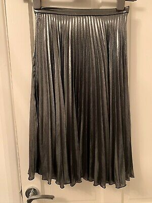Top Shop Silver Pleated Skirt 6
