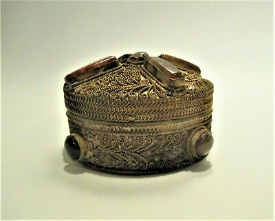 Old Chinese Box Gilt Metal with Agate Stones