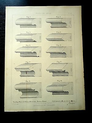 Antique Print 30x40 Accessories Furniture Wood Carving Profiles Old Plate 1899