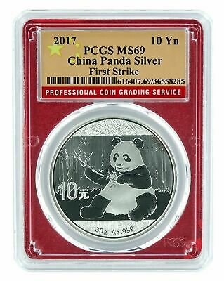 2017 China 10 Yuan Silver Panda PCGS MS69 - First Strike Red Frame Flag Label