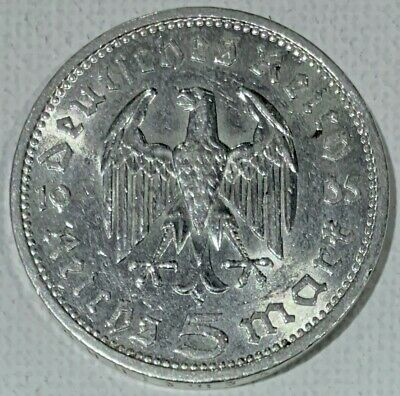 1935 Nazi Germany Silver 5 Marks Coin Bright UNC.