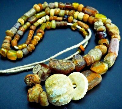 Original Ancient Egyptian Faience Melon Ancient Glass Amber Tone Beads Strand