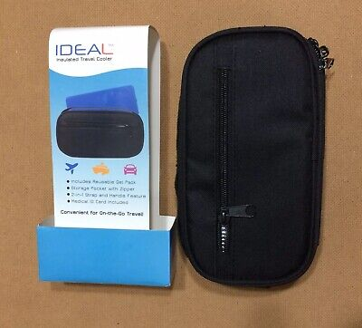 IDEAL Insulated Travel Cooler Black With Strap And Gel Pack For On-the-go Travel