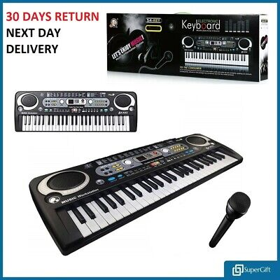 Electronic Digital Keyboard & Microphone Mic Electric LED Adult Size Set 54 Keys