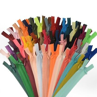 All Colours Invisible Concealed Nylon Zips 50 cm & 60 cm Zipper Made in Turkey
