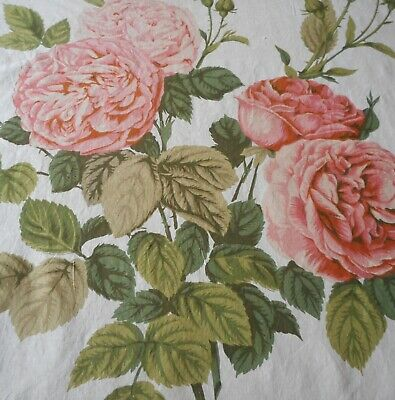 Antique English Lg. Redouté Cabbage Roses Cotton Fabric #1~Apricot Peach Olive