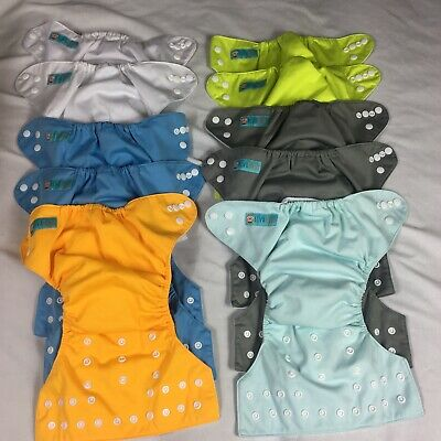 Lot Of 10 Adjustable Alva Baby Pocket Diapers With Snaps Multicolored