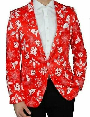 Nwt $200 Suslo Couture Ugly Christmas Slim Suit Blazer Jacket Mens 39 40 Large