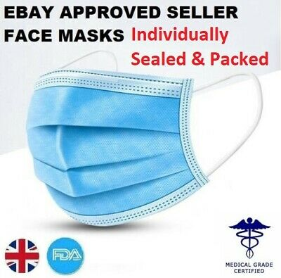 Face Mask Surgical Disposable Mouth Guard Cover Face Masks Filter Respiration UK