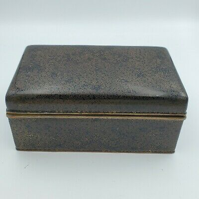 ANTIQUE CHINESE CLOISONNE BLACK BRASS ENAMEL FLORAL Humidor Hinged BOX LID RARE