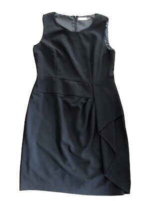 calvin klein Womens 12 Black Sleeveless Ruffled Knee Length Sheath Dress
