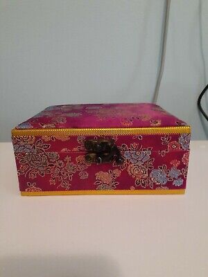 Chinese Jewelry Box/ Wooden with Fabric