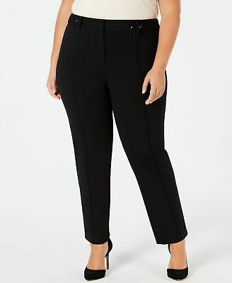Alfani Womens Dress Pants Black Size 20W Plus Pintuck Slim Leg Stretch $79 302
