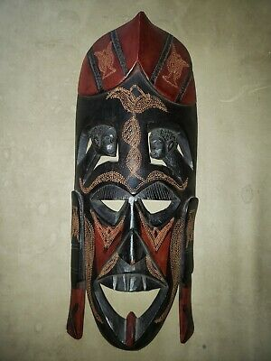 Hand Carved Wooden African Mask, Made in Kenya 16 inches tall