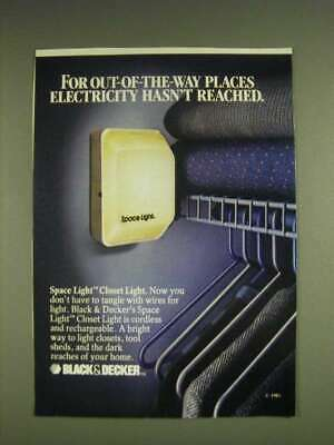 1985 Black & Decker Space Light Closet Light Ad - For out-of-the-way places