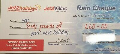 1 X Jet2Holidays £60 Rain Cheque Voucher Code 1 year validity free delivery.