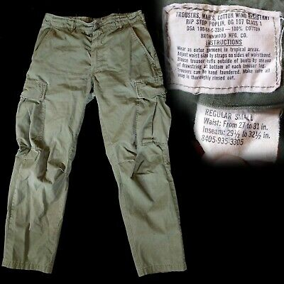 Vintage 1960s 1968 Vietnam War Rip Stop Poplin OG-107 Pants Regular Small 30x28