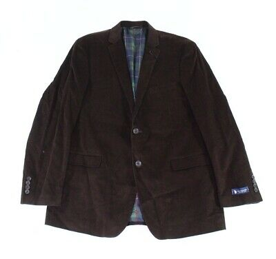 Designer Brand Mens Blazer Brown Size 46 Long Corduroy Two-Button $89 714
