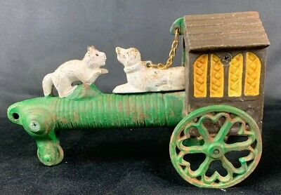 Old Vintage Antique Cast Iron Dog, Cat, House,  Action Toy