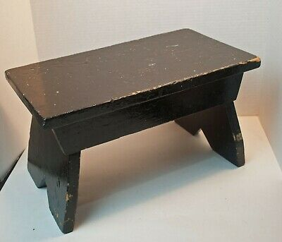 Antique Wood Step Stool Hand Painted Black  - Folk Art Wood Foot Stool