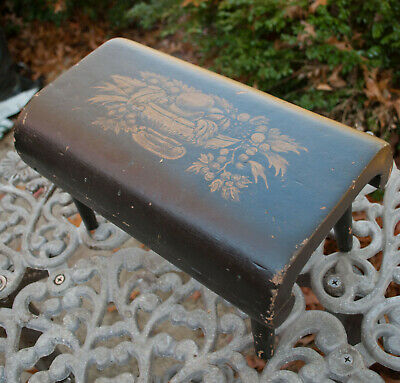 Antique Wood Step Stool Hand Painted Stencil  - Folk Art Wood Foot Stool
