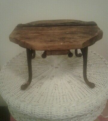 The BEST Oregon Antique Primitive Farmhouse Wood & Cast Iron Milking Stool Riser
