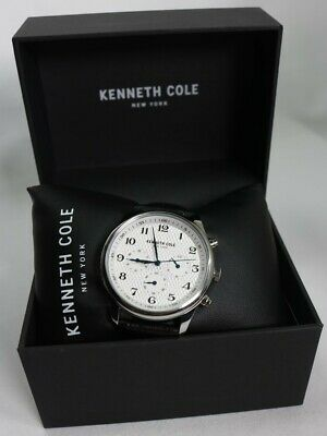 Kenneth Cole Stainless Steel Black Leather Men's Watch KC51049005 New