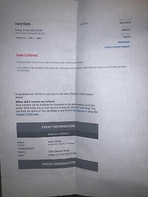2 Harry Styles Detroit Concert Tickets