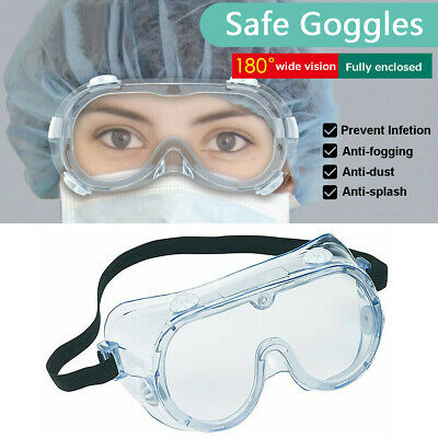 Clear Safety Goggles Glasses Anti Fog Lens Work Lab Protective Chemical 1-6 Lot