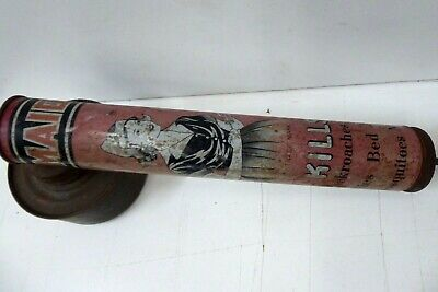 Vintage Hand Pump Insect Fly Spray Old Tin Maids Brand Advertising Sign