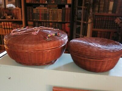 """( 2 ) Vintage Chinese Wicker Baskets / 9 1/2 & 12"""""""