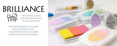 Tsukineko Brilliance Ink Pad Set - Archival Metallic Stamping Ink - Shiny Papers