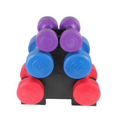 Vinyl Dumbbells Set withStand Weights HomeGym Fitness Aerobic Exercise Iron 12kg
