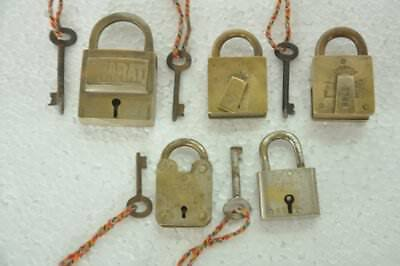 5 Pc Old Brass Handcrafted Different Brands Padlocks , Rich Patina